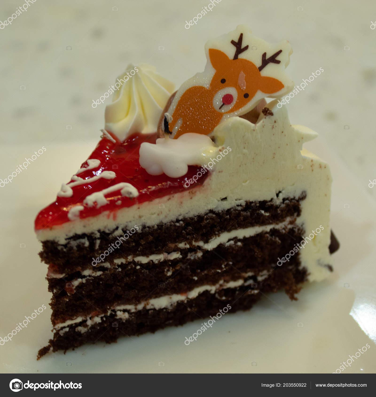 Birthday Cake Cut Triangles Tasty Stock Photo
