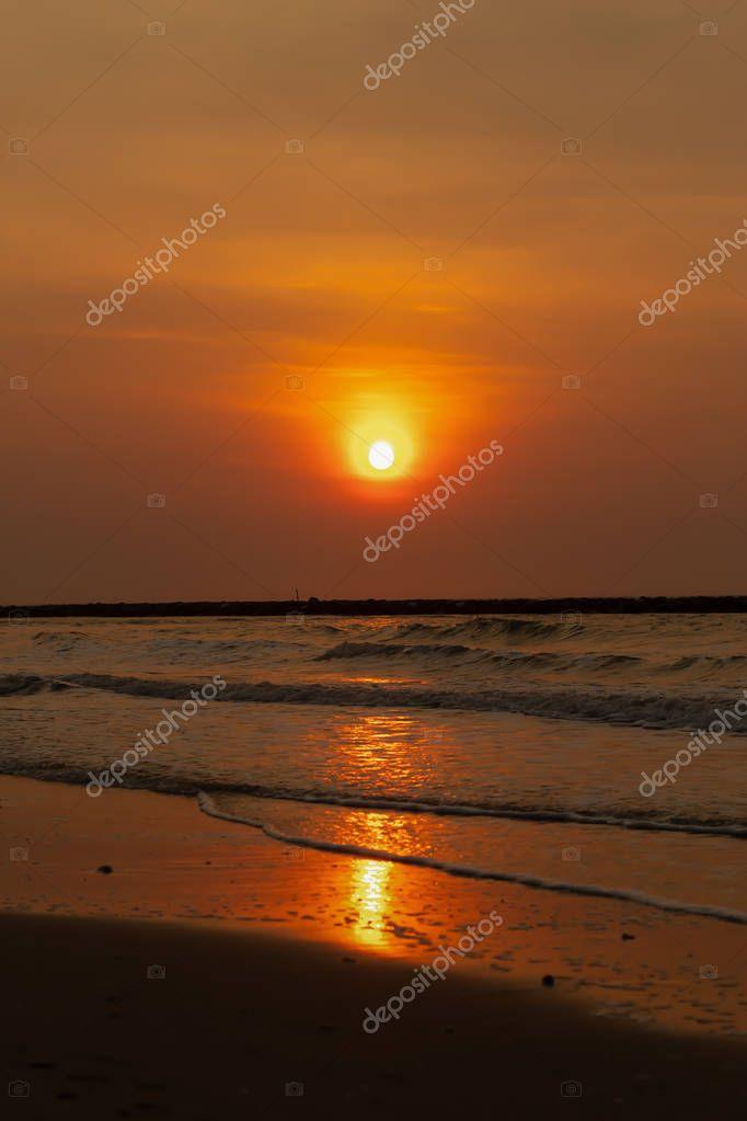 Light the morning sun at Wong Chan Beach , Cha Am