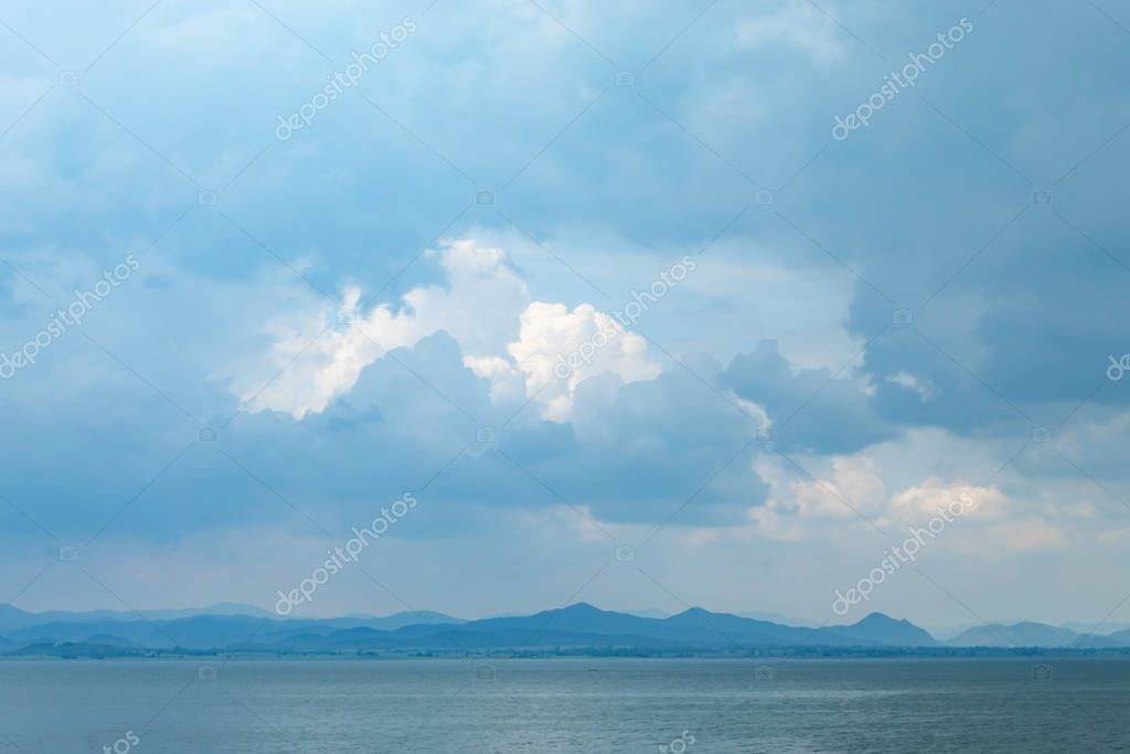 The mountain and the sky in Krasiew dam ,Supanburi Thailand.