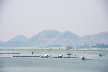 The raft floating fish farming and birds in Krasiew dam ,Supanburi Thailand.