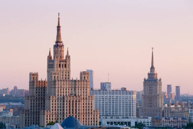 Moscow skyline panorama, aerial view - Stalin era Hotel Ukraine tower and Russian government White House building