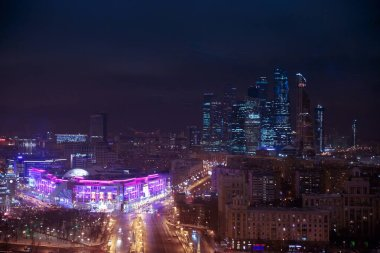 Moscow skyline panorama, evening dusk aerial view to offices City skyscrapers