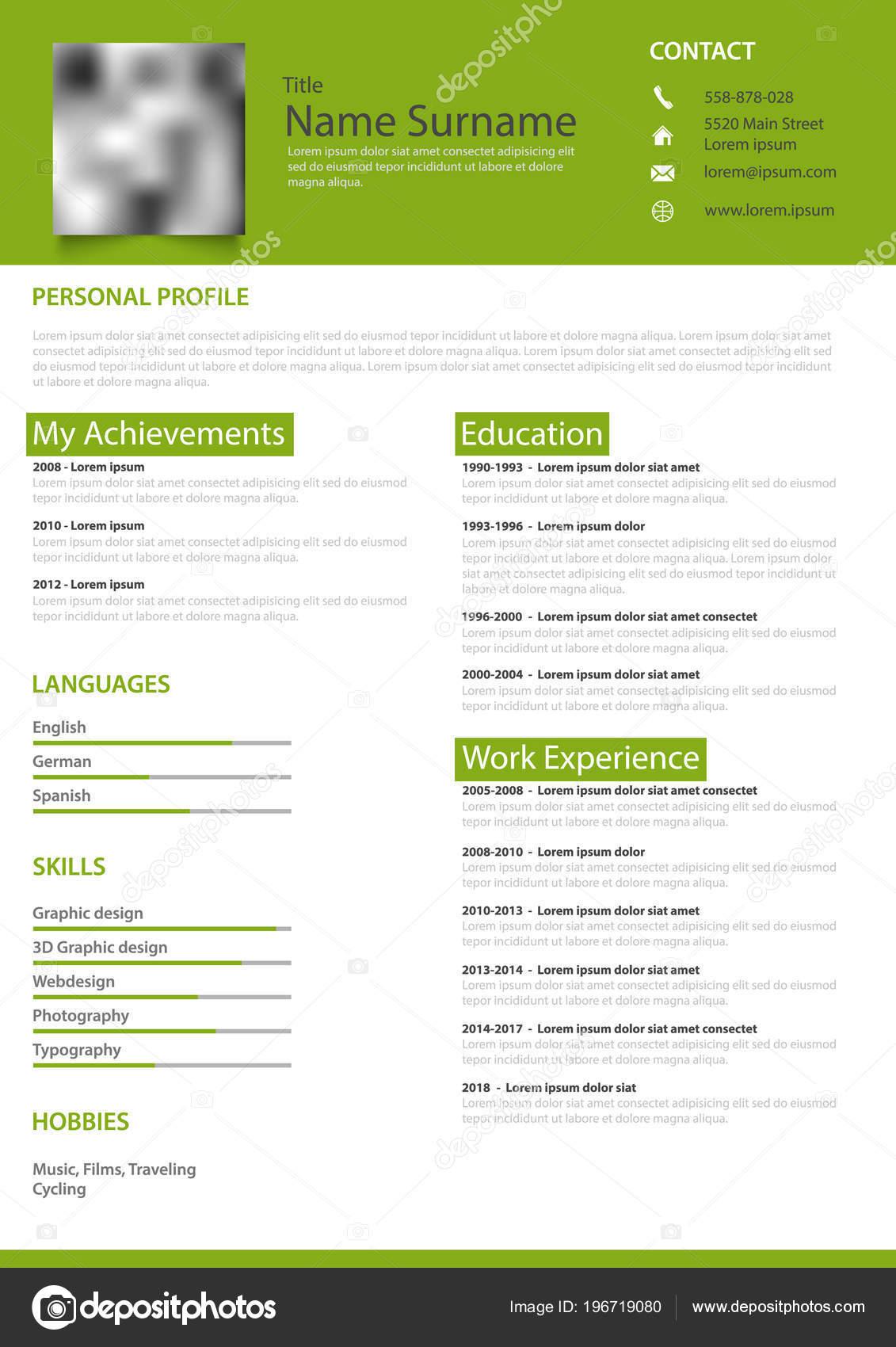 Profesional Personal Reanudar Blanco Diseño Verde Plantilla Vector ...