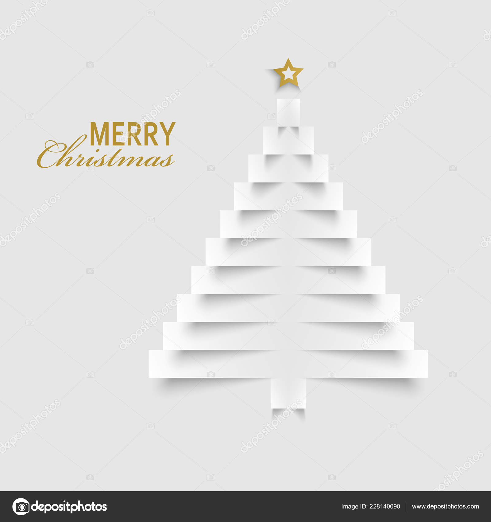 Christmas Card Tree Paper Labels Template Vector Eps Stock Vector C Plisman 228140090