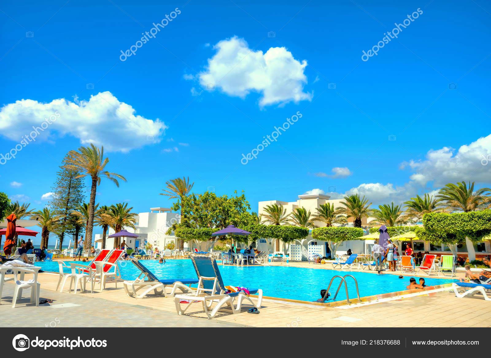 Nabeul Tunisia July 2017 Courtyard Swimming Pool Resort ...