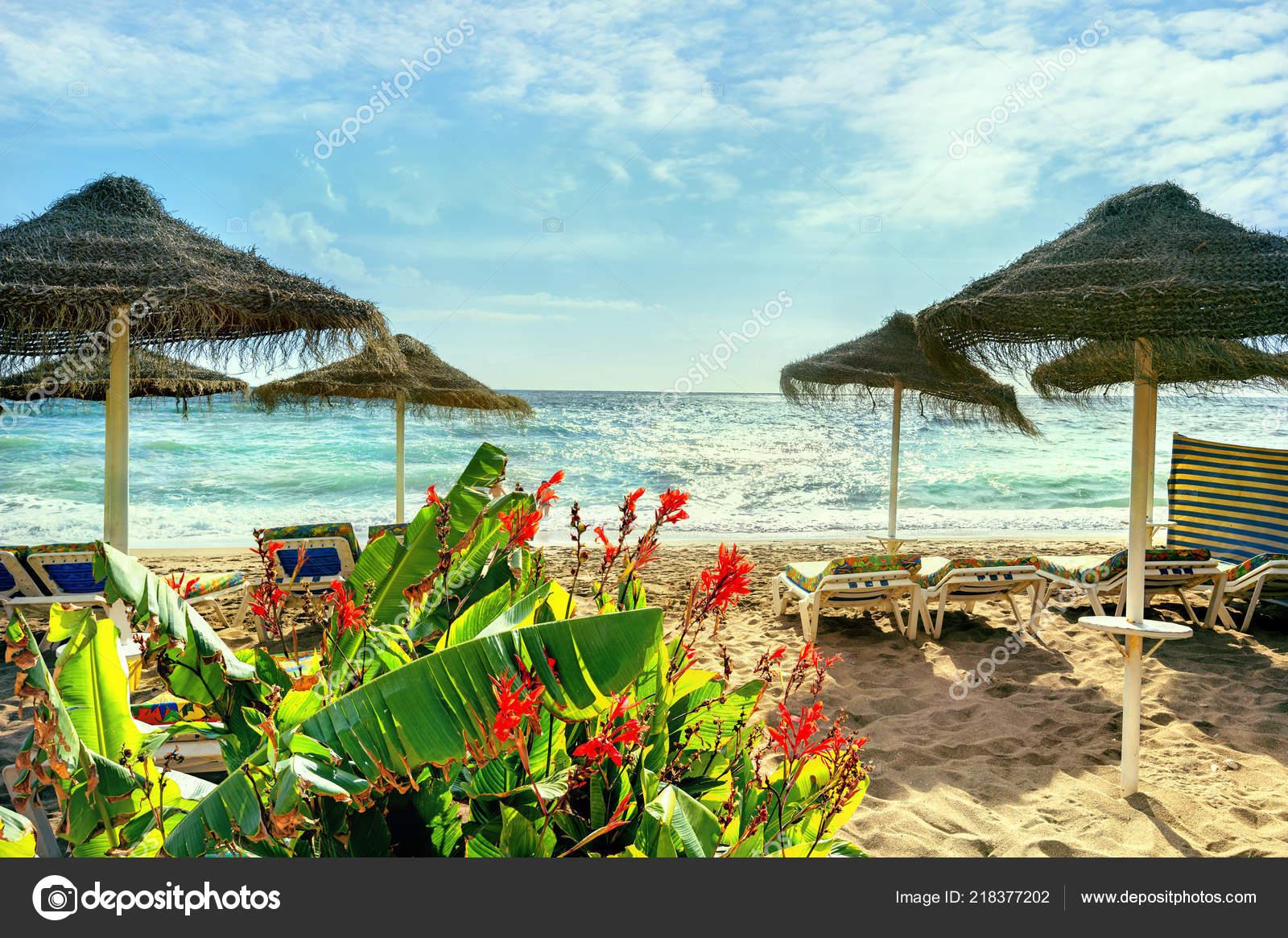80c0033692066 Playa Benalmádena Málaga Provincia Costa Del Sol Andalucía España — Foto de  Stock