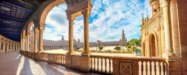 Panoramic view of Spanish Square, Plaza de Espana. Seville, Andalusia, Spain