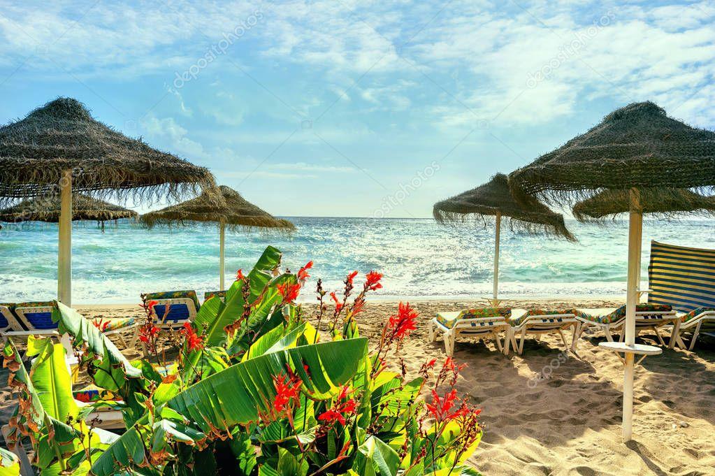 Beach in Benalmadena. Malaga province, Costa del Sol, Andalusia, Spain