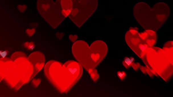 Valentýn s plovoucí srdce proti černé pozadí s přechodem. Romance, láska, manželství koncept