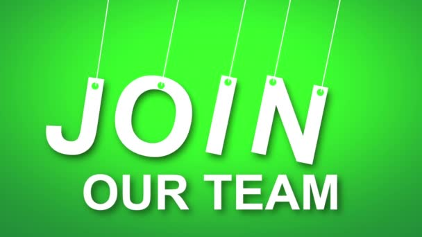 Join our team text hanging on a string coloured background.
