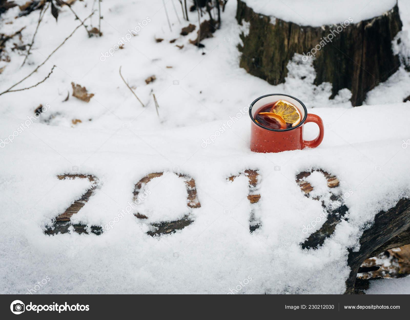 Weihnachten 2019 Schnee.Die Inschrift 2019 Schnee Mit Einer Tasse Glühwein Den Verschneiten
