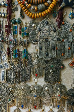Hand of Fatima or Hamsa (Khamsa) amulet or Miriams Hand (Miriam's Hand). Amulet popular throughout the Middle East and North Africa and commonly used in jewelry and wall hangings.