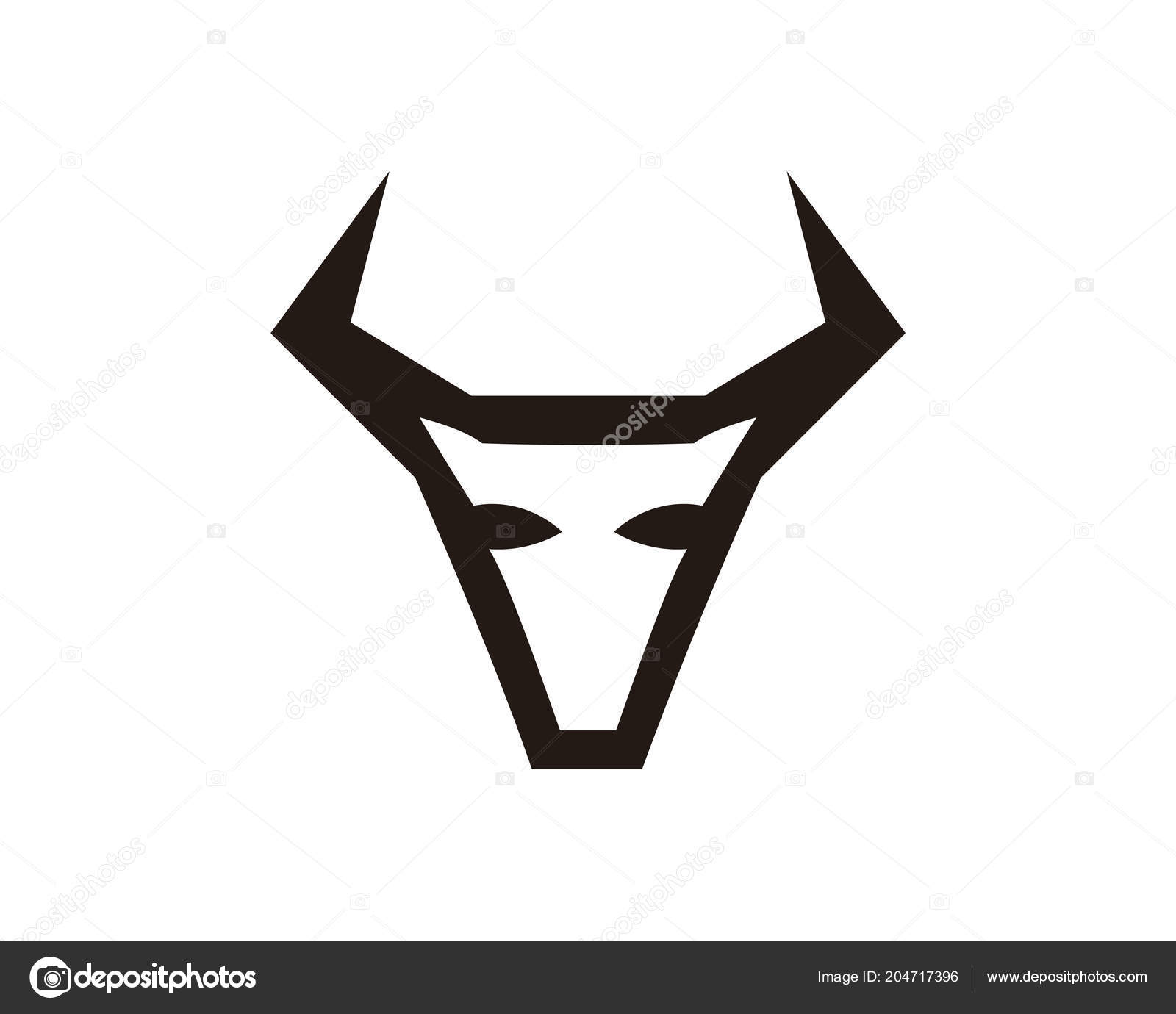 Bull Horn Animal Silhouette Farm Icon Isolated Flat Illustration
