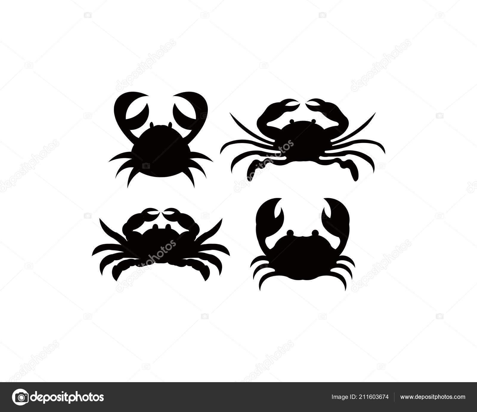 Crab Silhouette Seafood Shop Logo Branding Template Craft Food