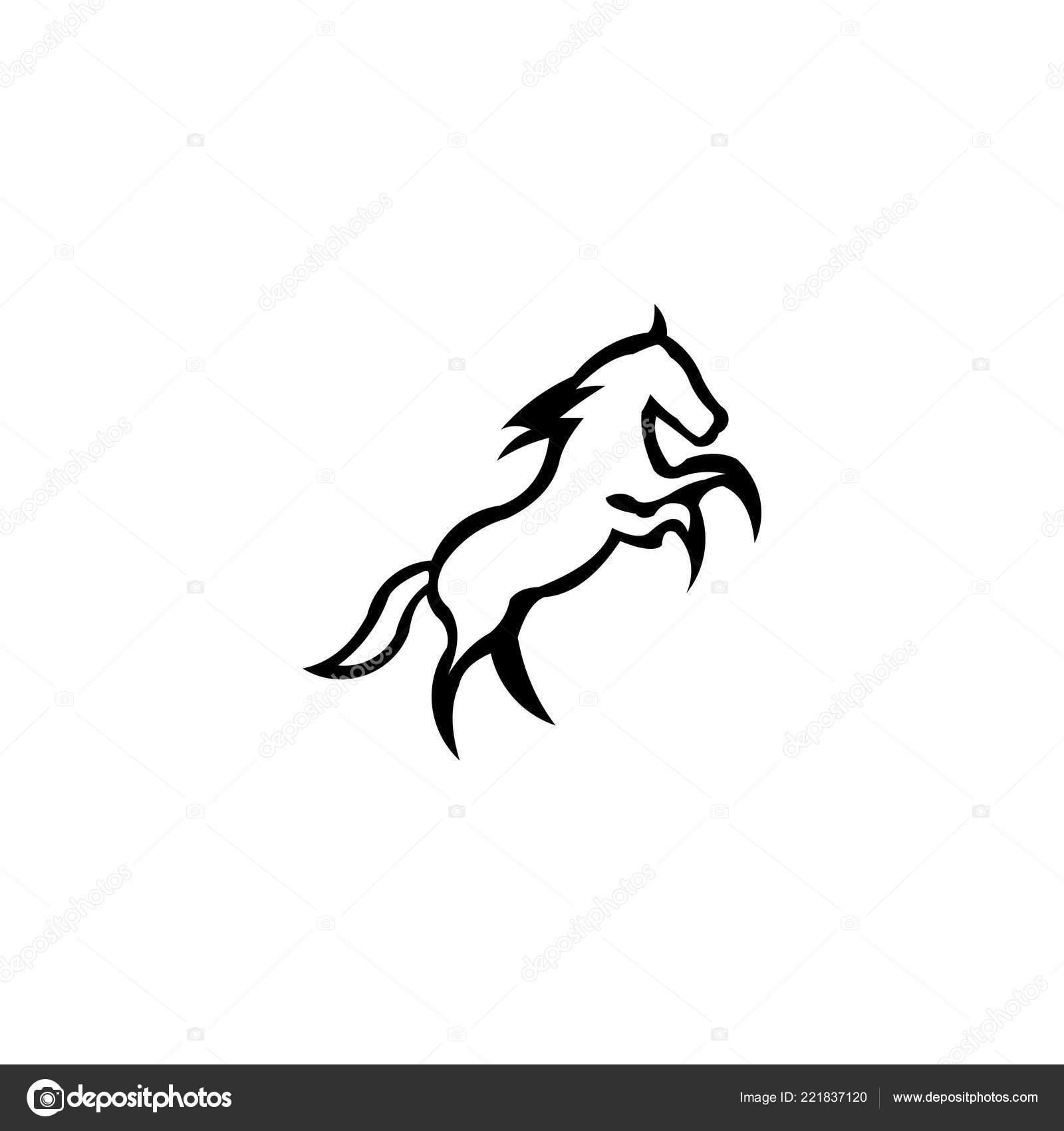 Running Horse Line Art Outline Logo Vector Icon Template Stock Vector C Bentwajahpribumi Gmail Com 221837120