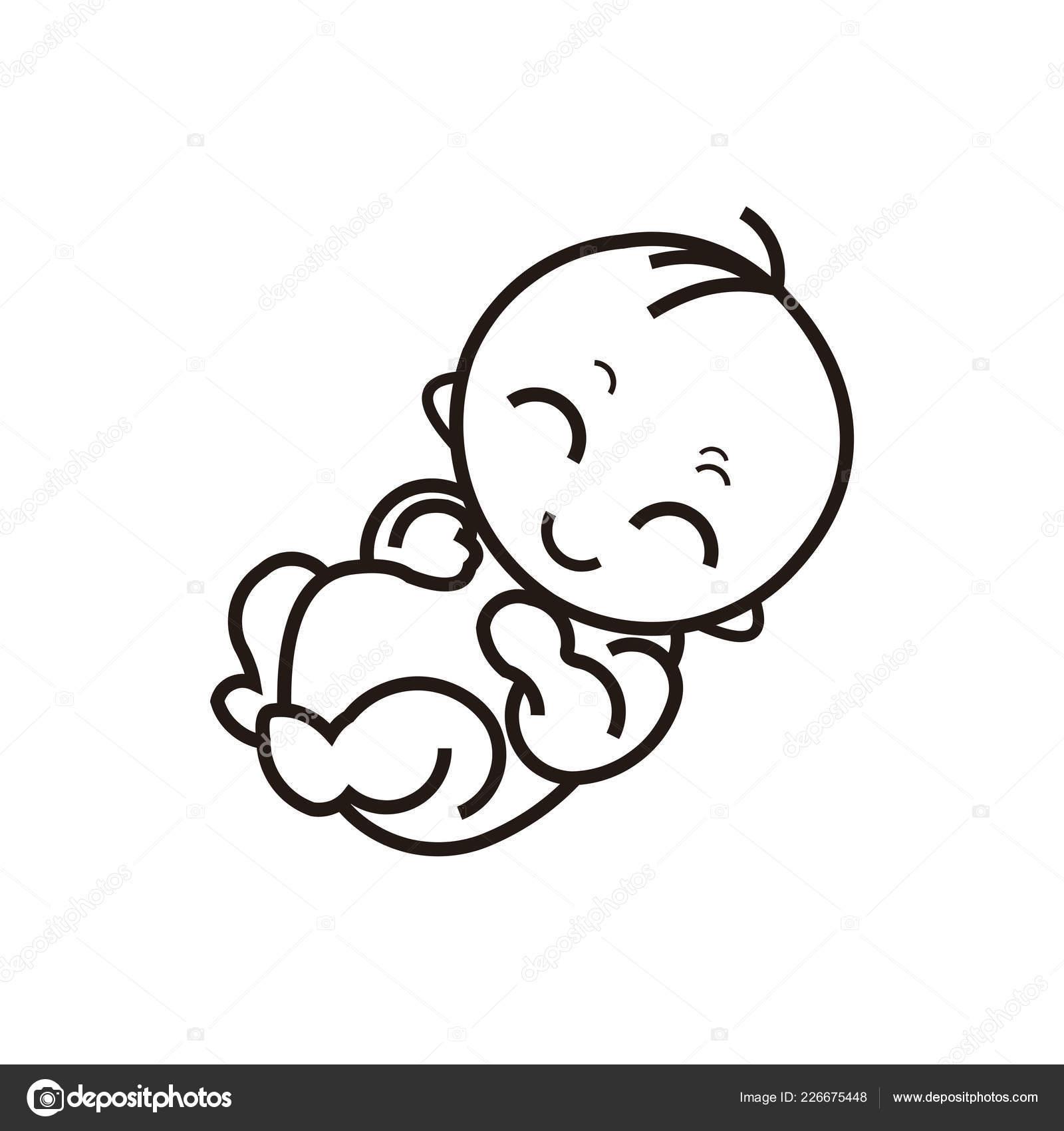 Illustrazione Neonato Stilizzato Bambino Siluetta Del
