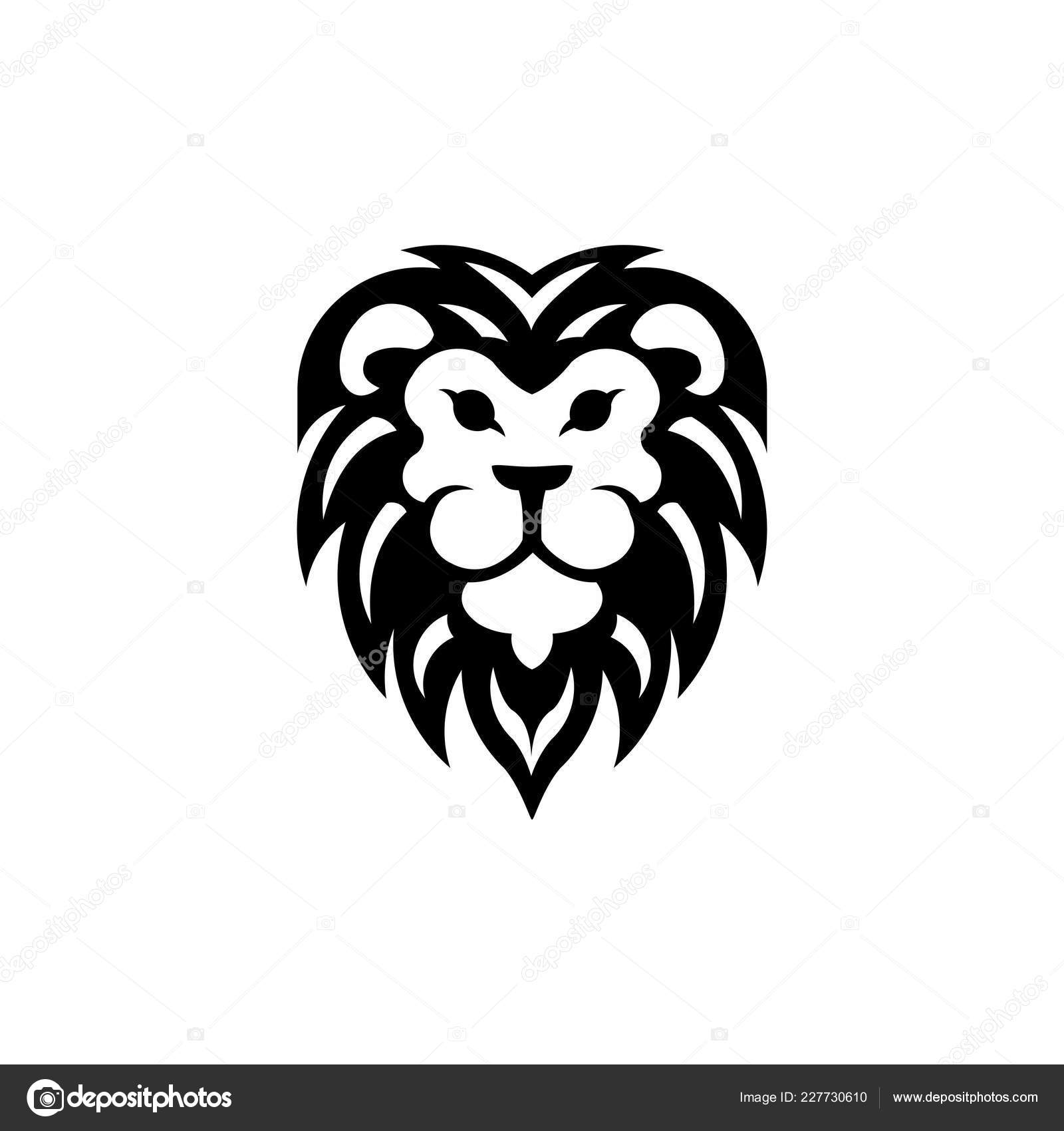 lion head logo template lion strong gallant face bushy hairy