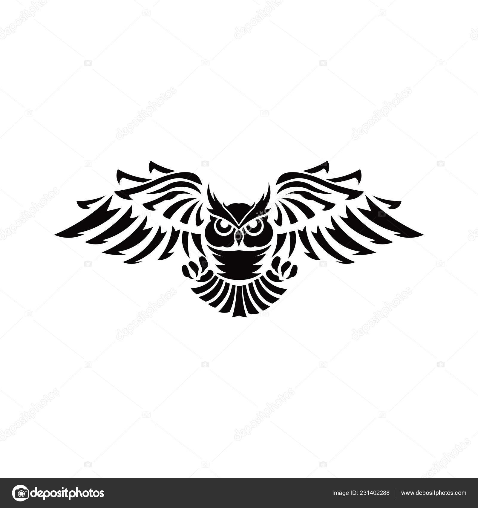 Owl Logo Vector Illustrations Emblem Design Black Background Inspiration Bird Stock Vector C Bentwajahpribumi Gmail Com 231402288