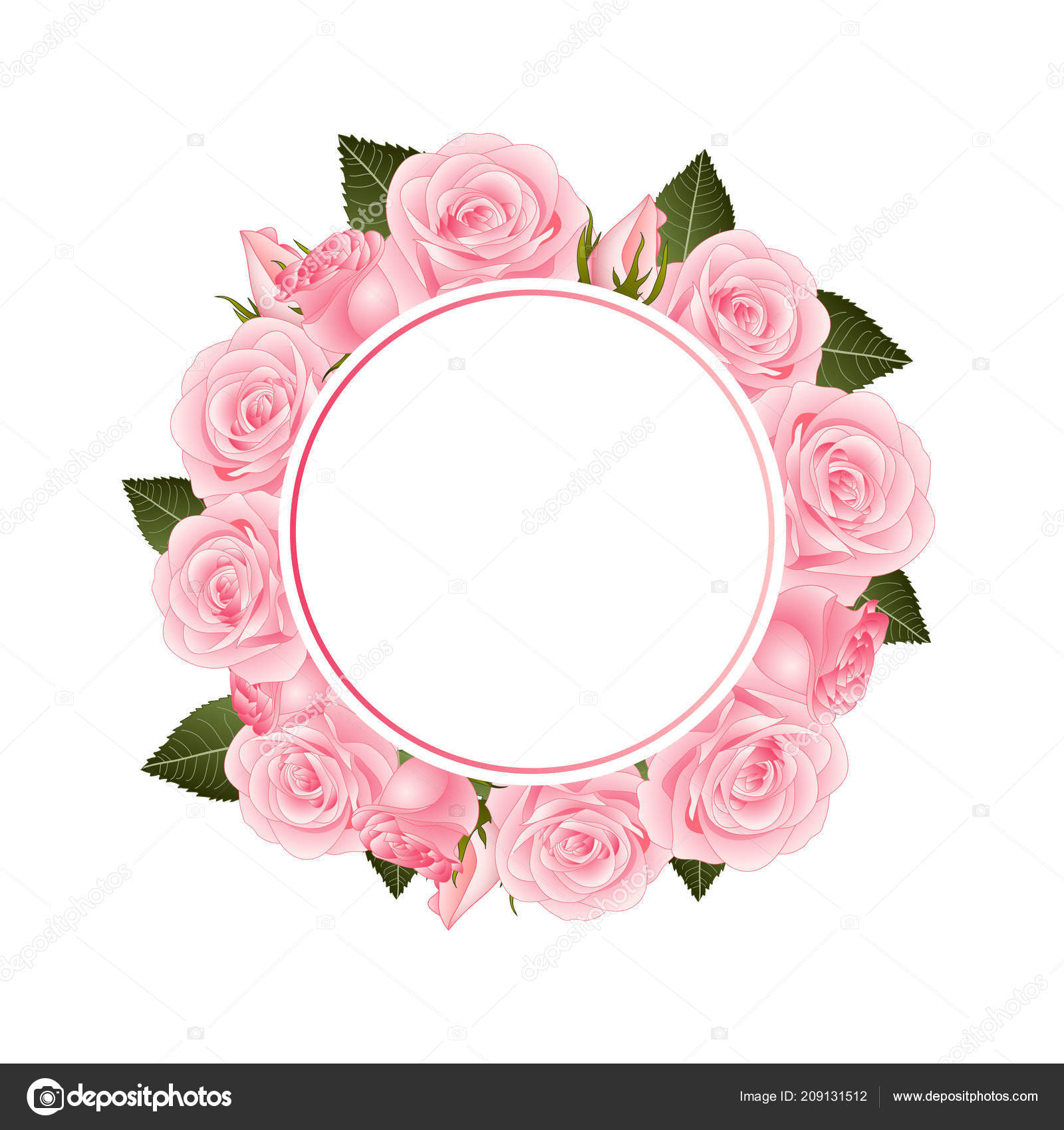 Pink rose flower banner wreath isolated white background vector pink rose flower banner wreath isolated white background vector illustration stock vector mightylinksfo