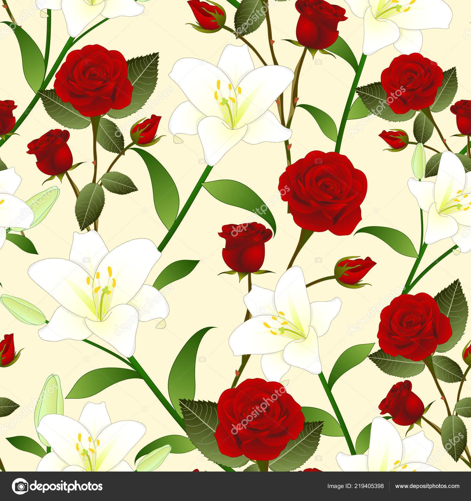 Rote Rosen Und Weiße Lilie Blume Nahtlose Weihnachten Elfenbein ...