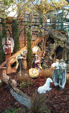 closer view on a crib in the district emsland in germany photographed on end during a walk in december to prepare for christmas