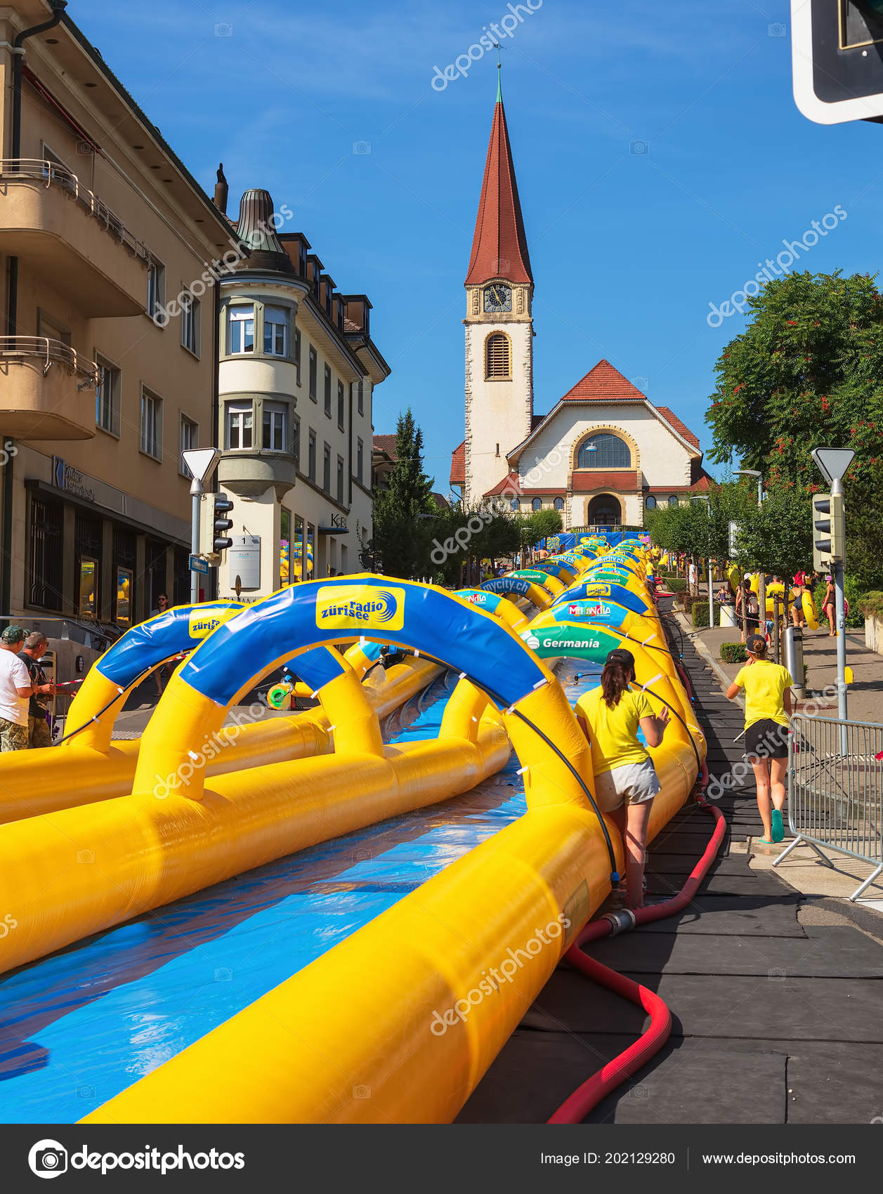 wallisellen switzerland july 2018 view kirchstrasse street slide
