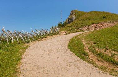 Summit of Mt. Rigi in Switzerland in summer. The Rigi is a popular tourist destination, accessible by a mountain rack railway.