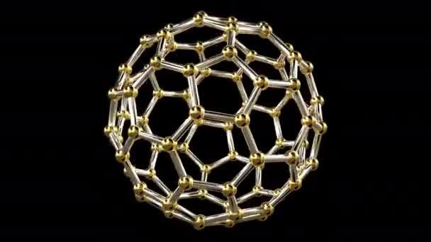 3D-Rendering einer nahtlos Endlos wiederholbar Animation einer abstrakten geometrischen Form hergestellt aus Sechsecken mit goldenen Kugeln an ihren Spitzen bilden eine kugelförmige Struktur, um seine vertikale Achse drehen. Auf schwarzem Hintergrund, gefolgt von alpha-Kanal