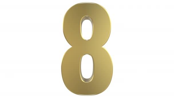 3D visszaadás-ból a 8 szám a 1 számjegy átalakítás követi az inverz transzformáció, amely lehetővé teszi a zökkenőmentes végtelen hurok. A fehér háttér, majd alfa-Matt.