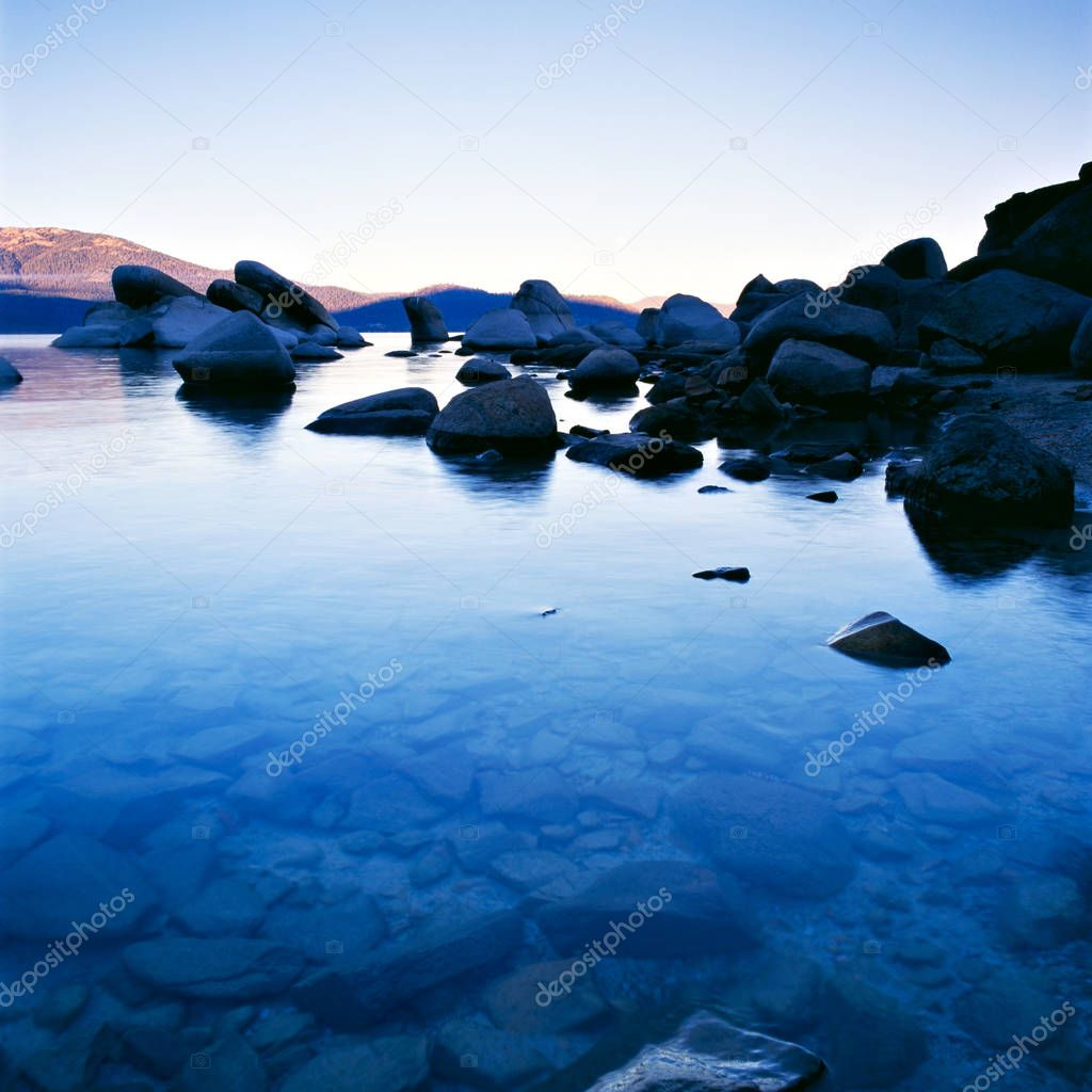 Lake Tahoe at sunset with blue cast