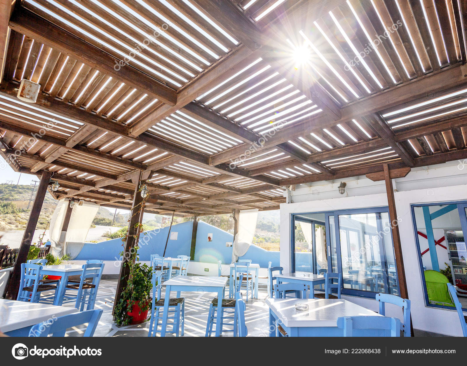Prime Beach Cafe Restaurant Blue White Tables Chairs Greek Style Alphanode Cool Chair Designs And Ideas Alphanodeonline