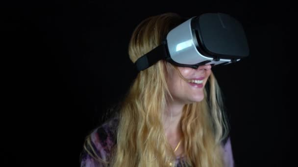 Young woman wearing VR headset