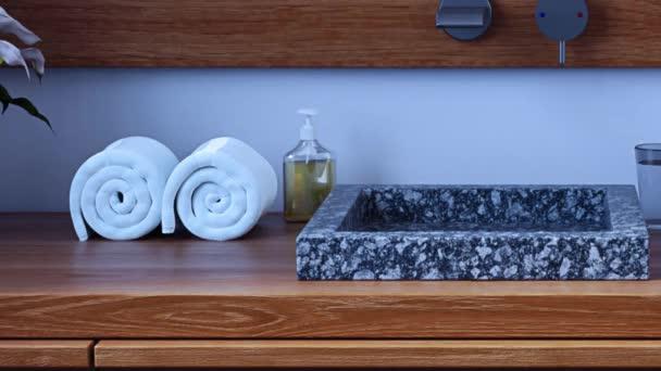 3D animace moderní koupelnu s mramorovým umyvadlem a dřevěný nábytek