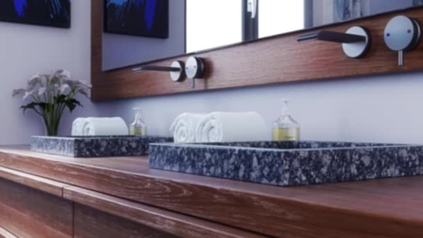 Animation Modern Bathroom Marble Sink Wood Furniture Stock Video