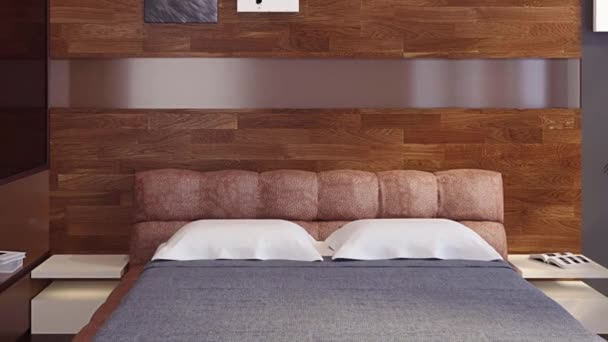 3D animace moderní ložnice s wardrope a nábytek - dřevěné podlahy