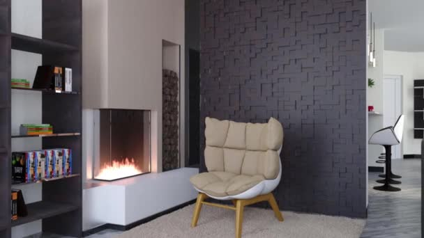 3d animation living room house with modern fireplace and chair design