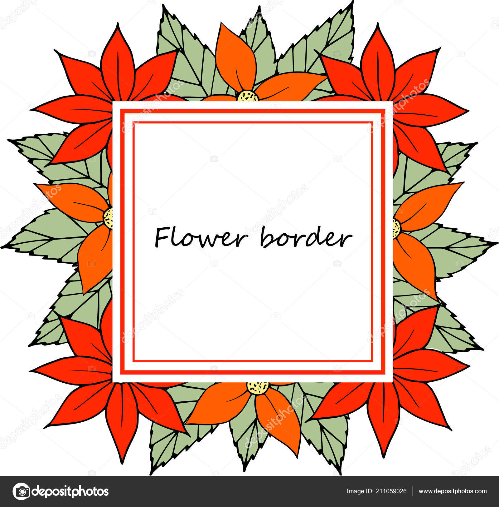 flower vector drawing frame isolated template hand drawn floral