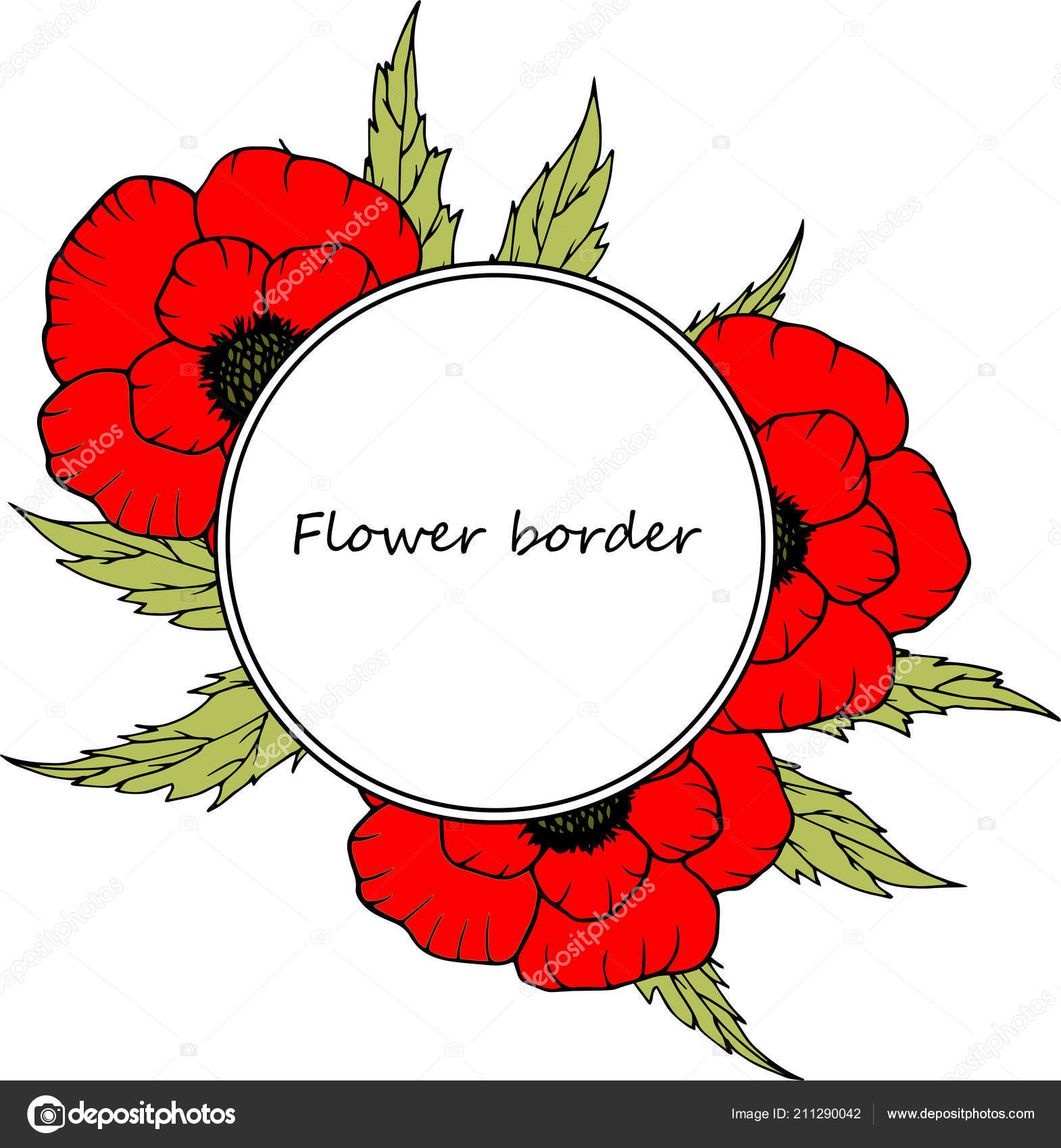 Flower vector drawing frame. Isolated template. Hand drawn floral ...