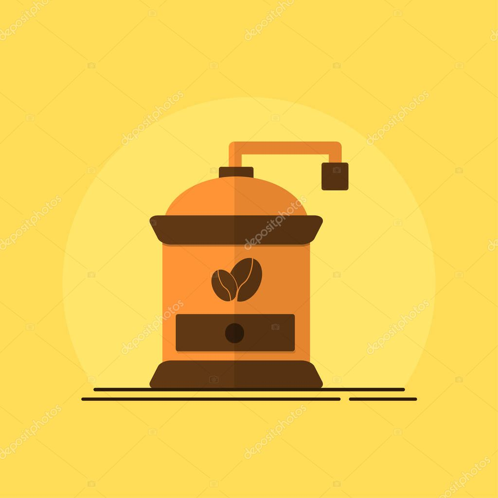 coffee grinder icon with coffee beans logo