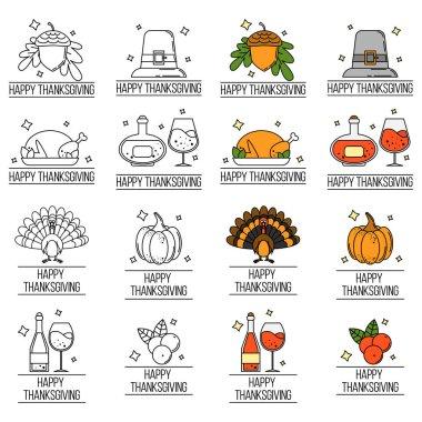 set of thanksgiving logos. Vector illustration