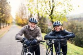 Aktives Seniorenpaar mit Elektrofahrrädern im Freien auf einer Straße in der Natur.