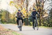 Fotografie Seniorenpaar mit Elektrofahrrädern fährt im Herbst auf einer Straße im Park.