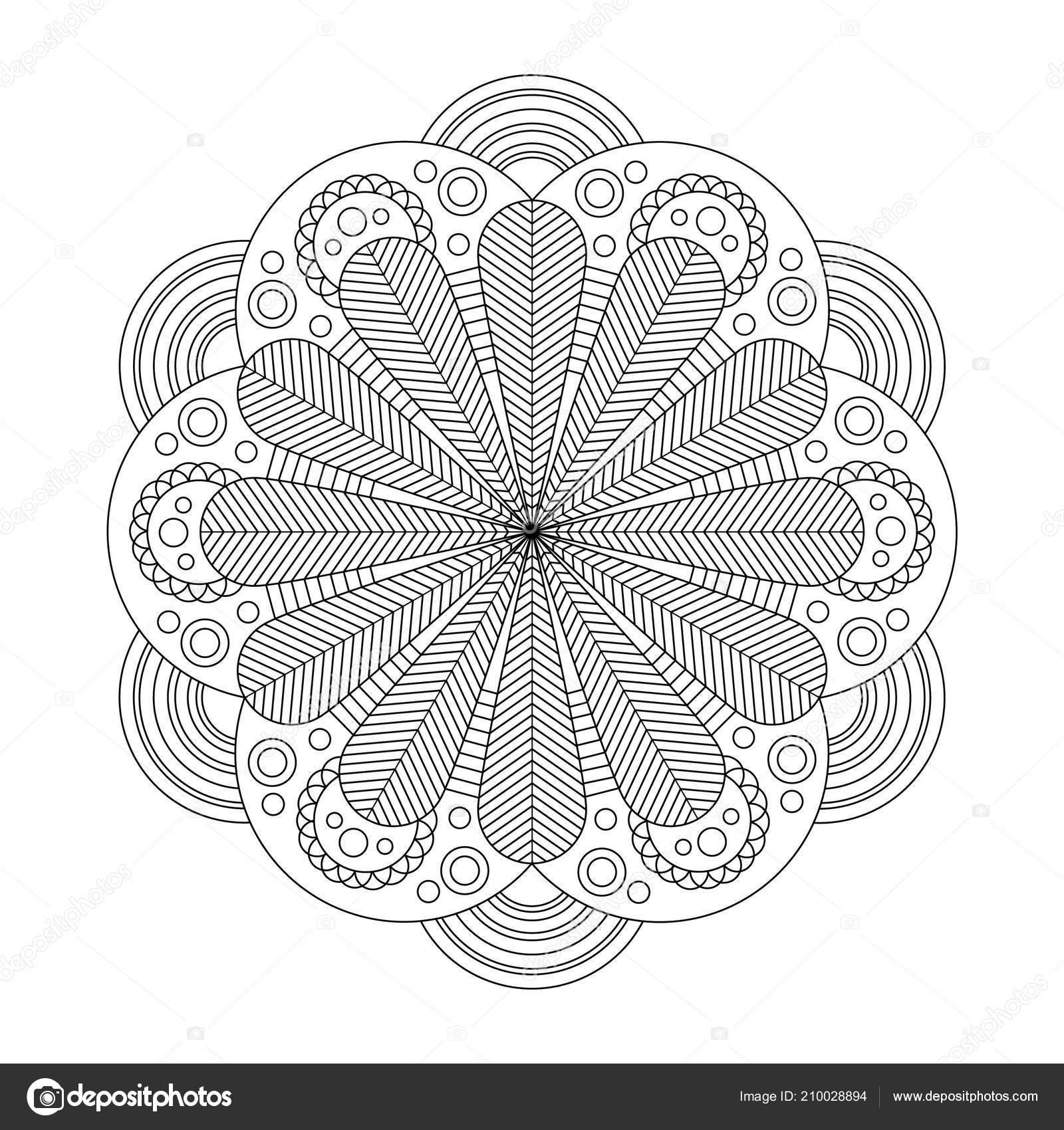 Mandala Coloring Book Seite Kunst Therapie Vintage Deko Elemente ...