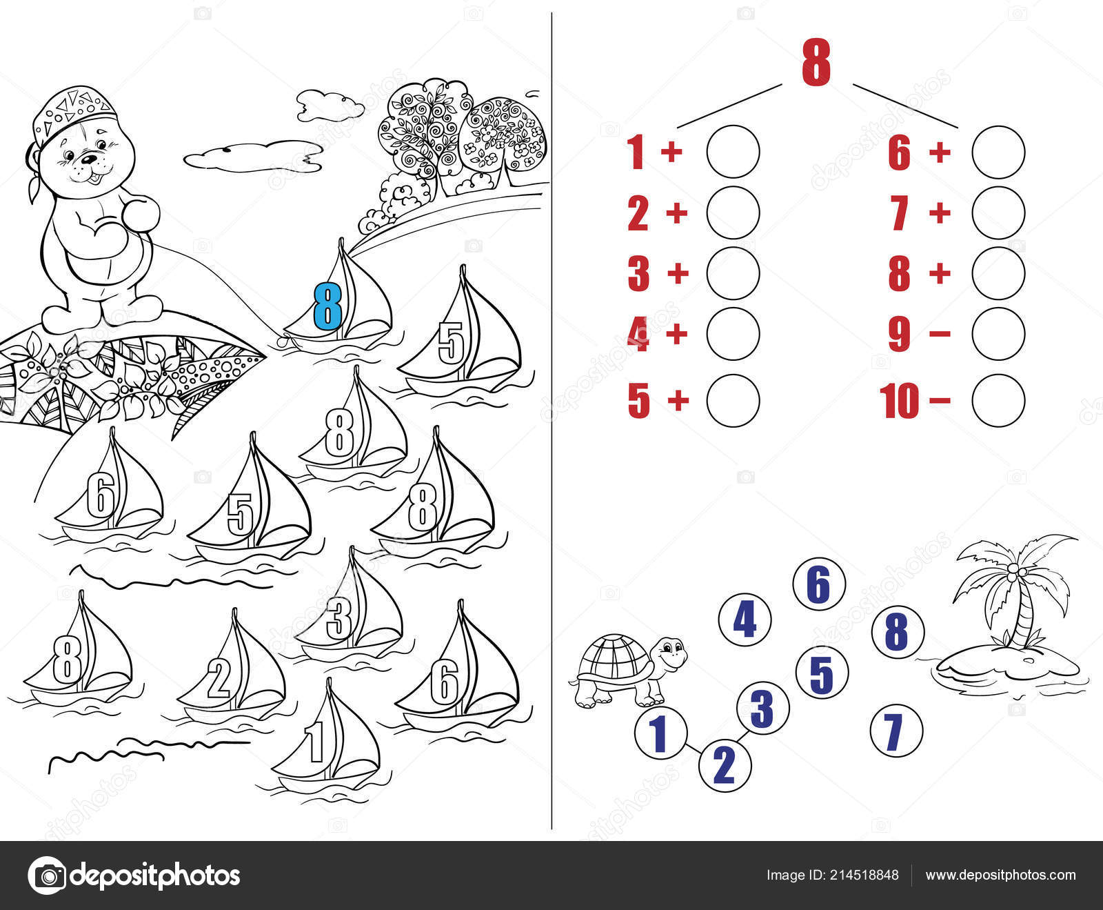 Rompecabezas Para Niños Tarea Matemáticas Matemáticas Oso Peluche
