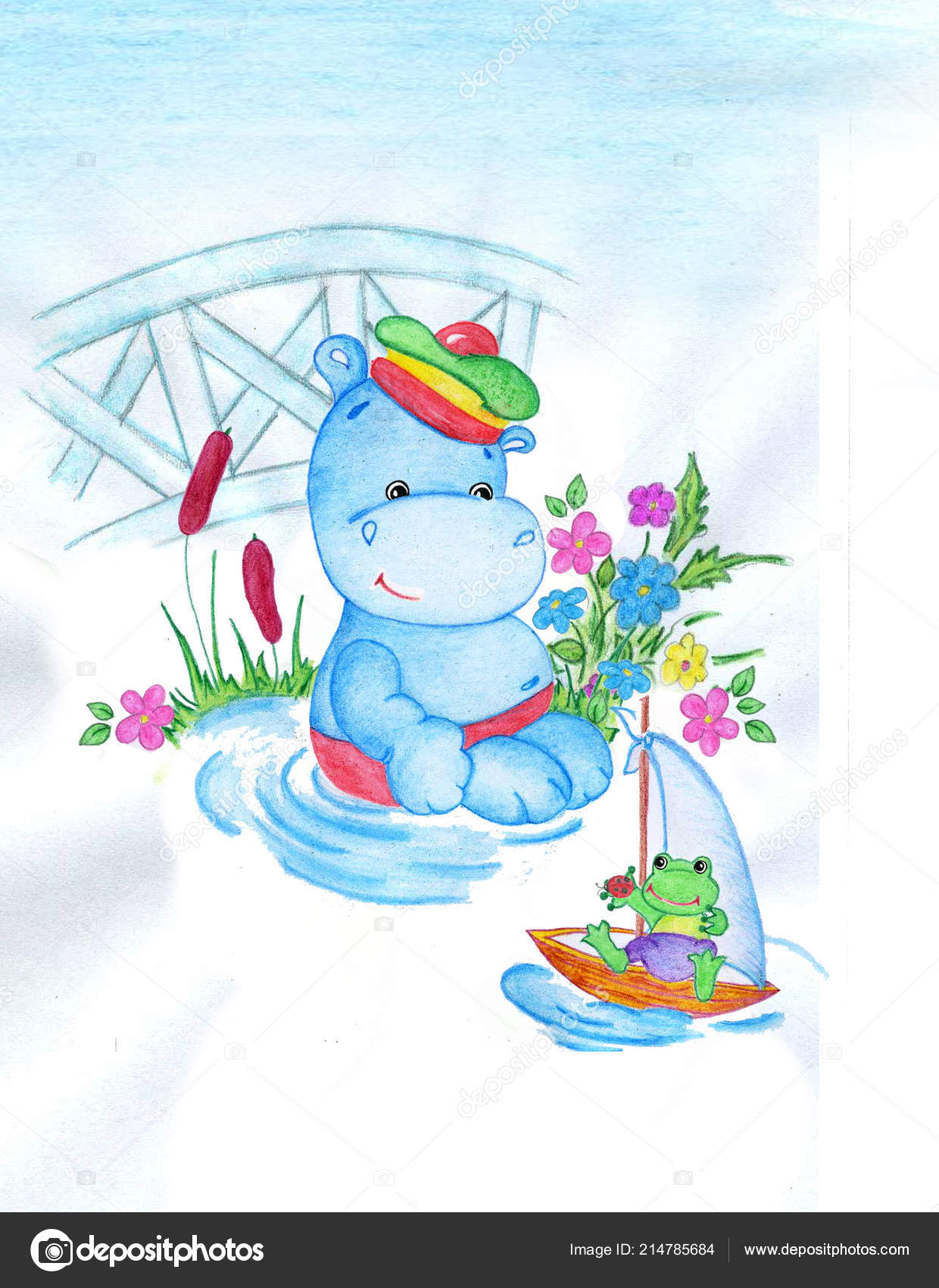 Ute Little Hippo With A Frog Summer Small River Glade Perfect For Kids Print Birthday Cards Design Books Invitations An Illustration Is Drawn In