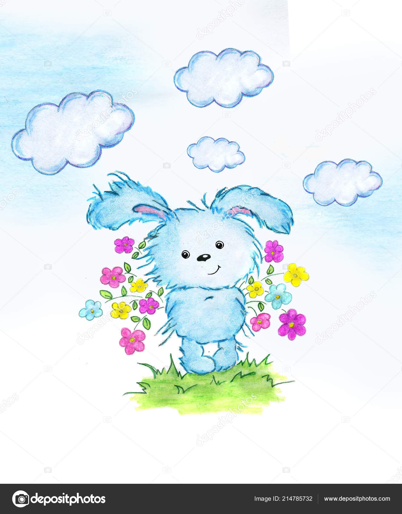 Cute Rabbit Flowers Perfect Kids Print Birthday Cards Design Books Stock Image