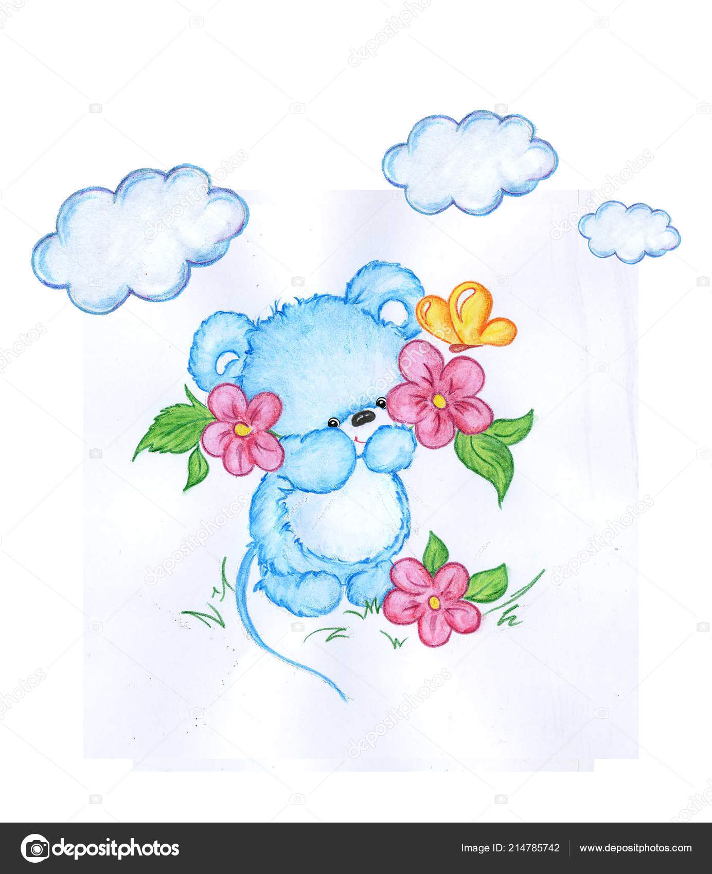 Ute Little Mouse Flowers Butterfly Perfect Kids Print Birthday Cards Stock Photo