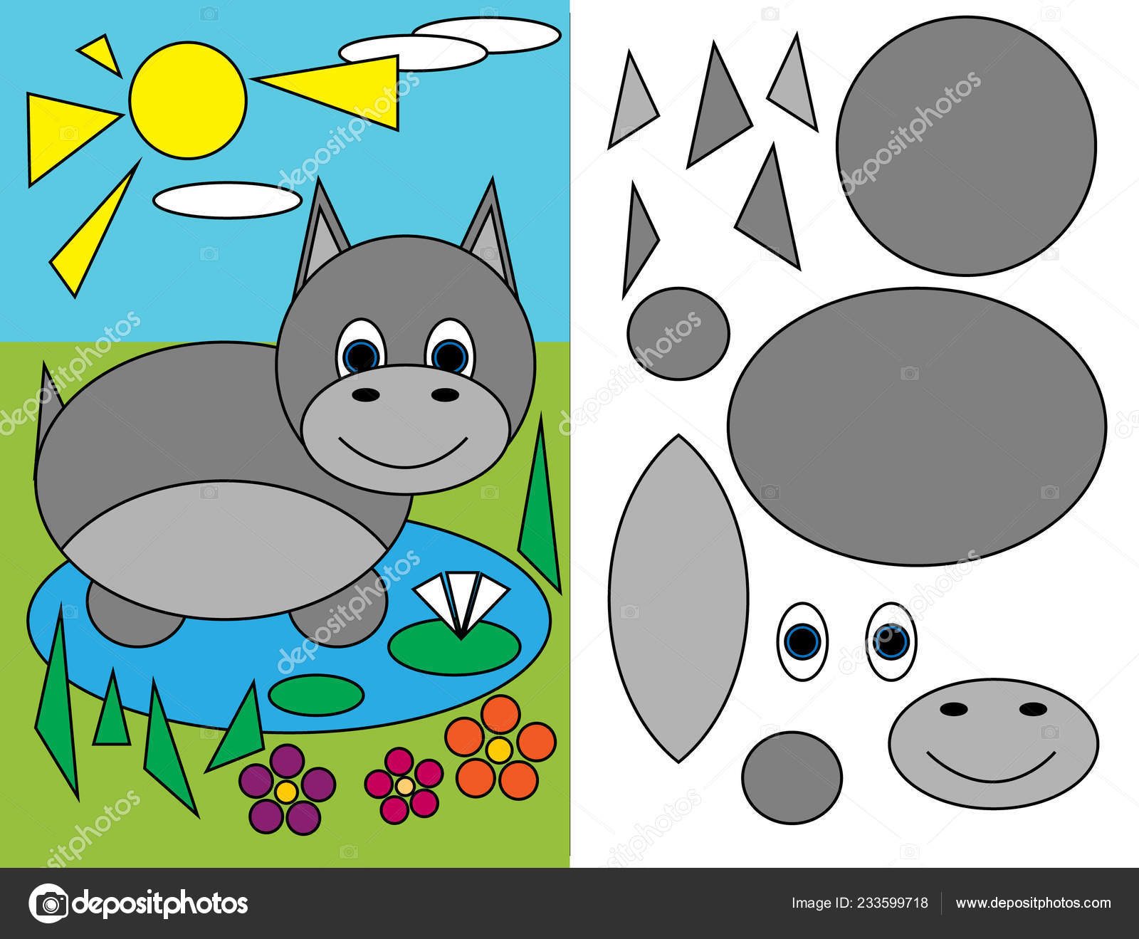 Applique Geometric Shapes Workbook Preschool Education Hippopotamus
