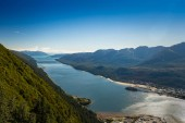 Photo South facing view of Gastineau Channel from Mount Roberts, Juneau, Alaska, USA.