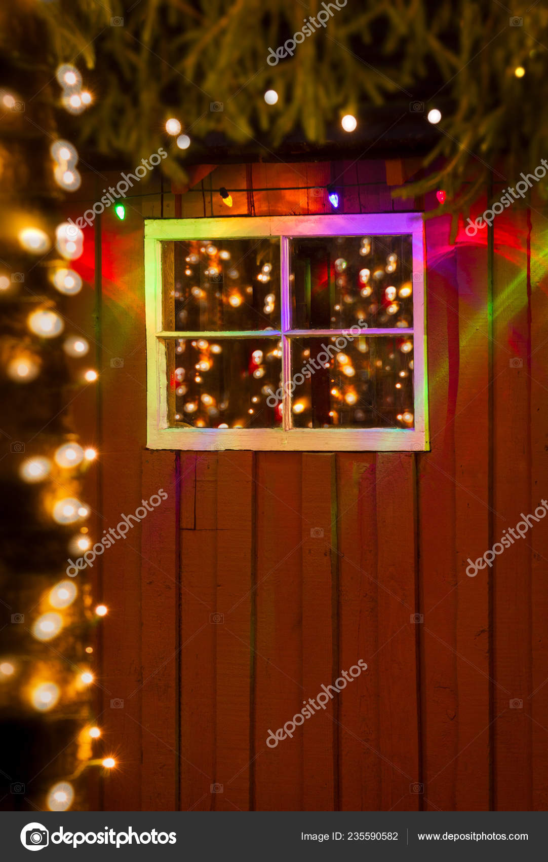 new concept 7d3f3 54263 Christmas lights reflected in old window of rustic red ...